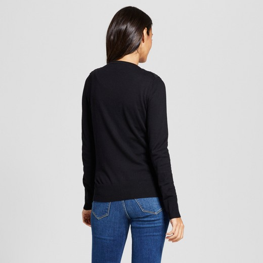 Women's Embellished Lace Cardigan - A New Day™ Black : Target