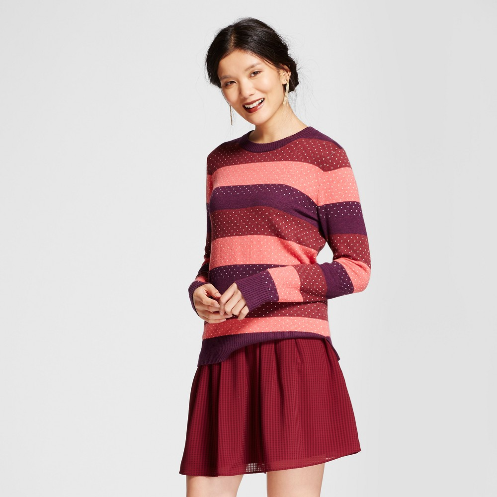 Womens Shine Striped Any Day Pullover - A New Day Burgundy (Red) L