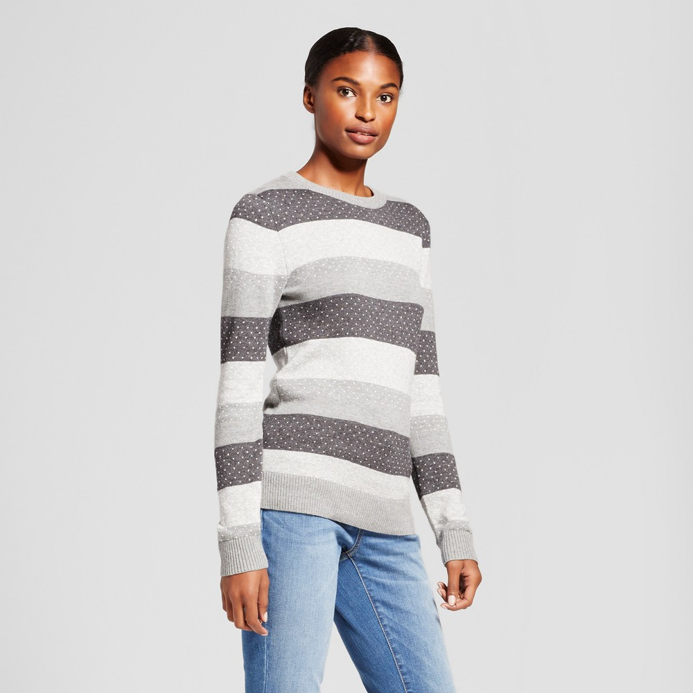 Womens Shine Striped Any Day Pullover - A New Day Gray M