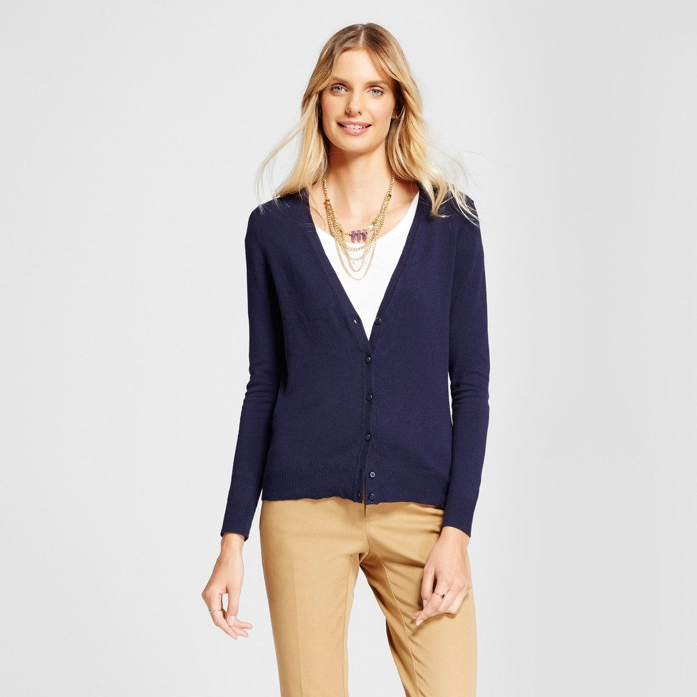 Womens V-Neck Any Day Cardigan - A New Day Navy (Blue) S