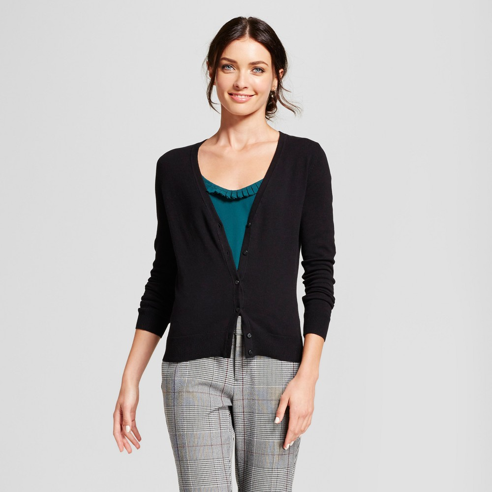 Womens V-Neck Any Day Cardigan - A New Day Black M