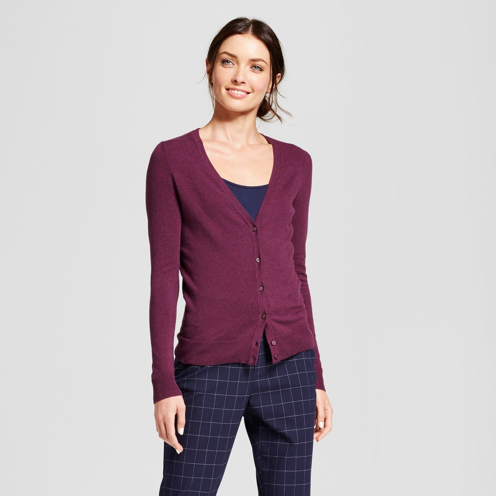 Womens V-Neck Any Day Cardigan - A New Day Cherry (Red) XS