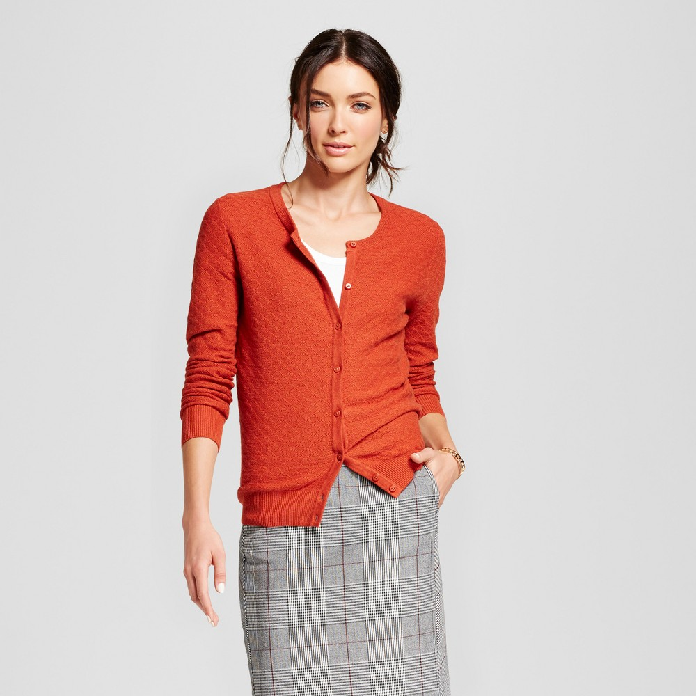 Womens Any Day Cardigan - A New Day Rust (Red) L