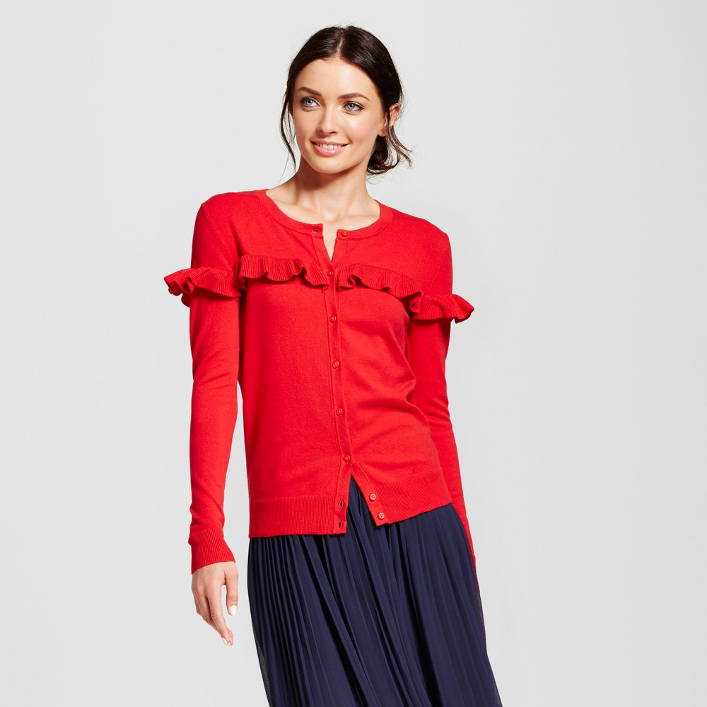 Womens Ruffle Any Day Cardigan - A New Day Red XL