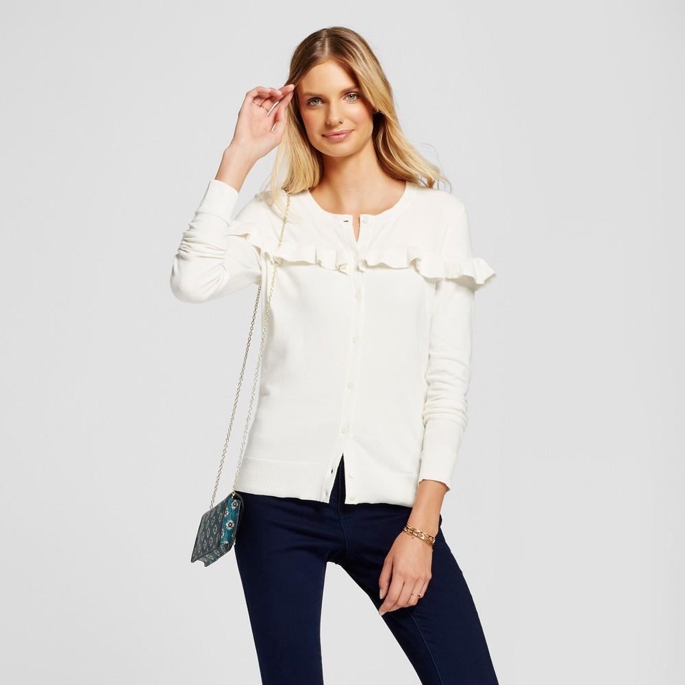 Womens Ruffle Any Day Cardigan - A New Day Cream (Ivory) XL
