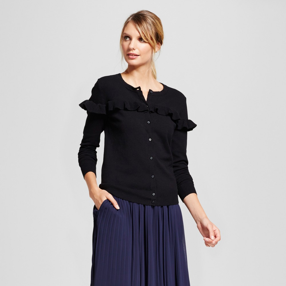 Womens Ruffle Any Day Cardigan - A New Day Black M