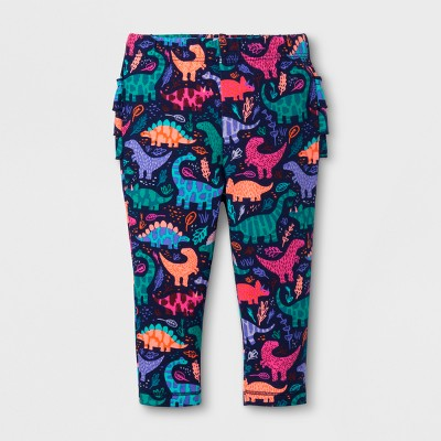 Baby Girls' Ruffle Bum Jogger - Cat & Jack™ Dino Print 0-3 Months