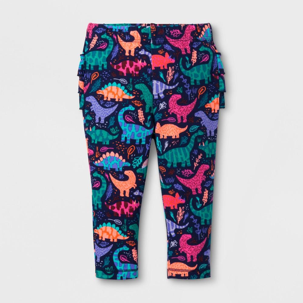 Baby Girls Ruffle Bum Jogger - Cat & Jack Dino Print 0-3 Months, Size: 0-3 M, Blue