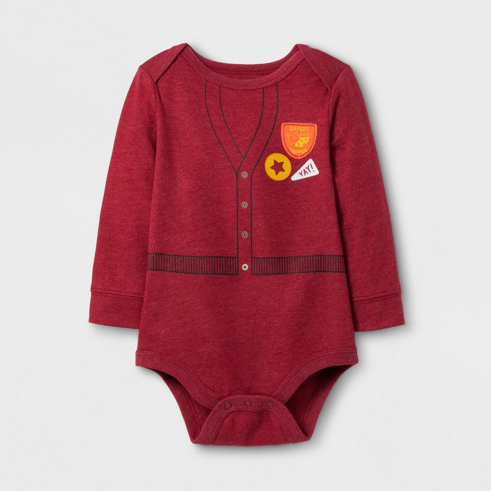 Baby Boys Long Sleeve Expert Napper Bodysuit - Cat & Jack Red 12 M