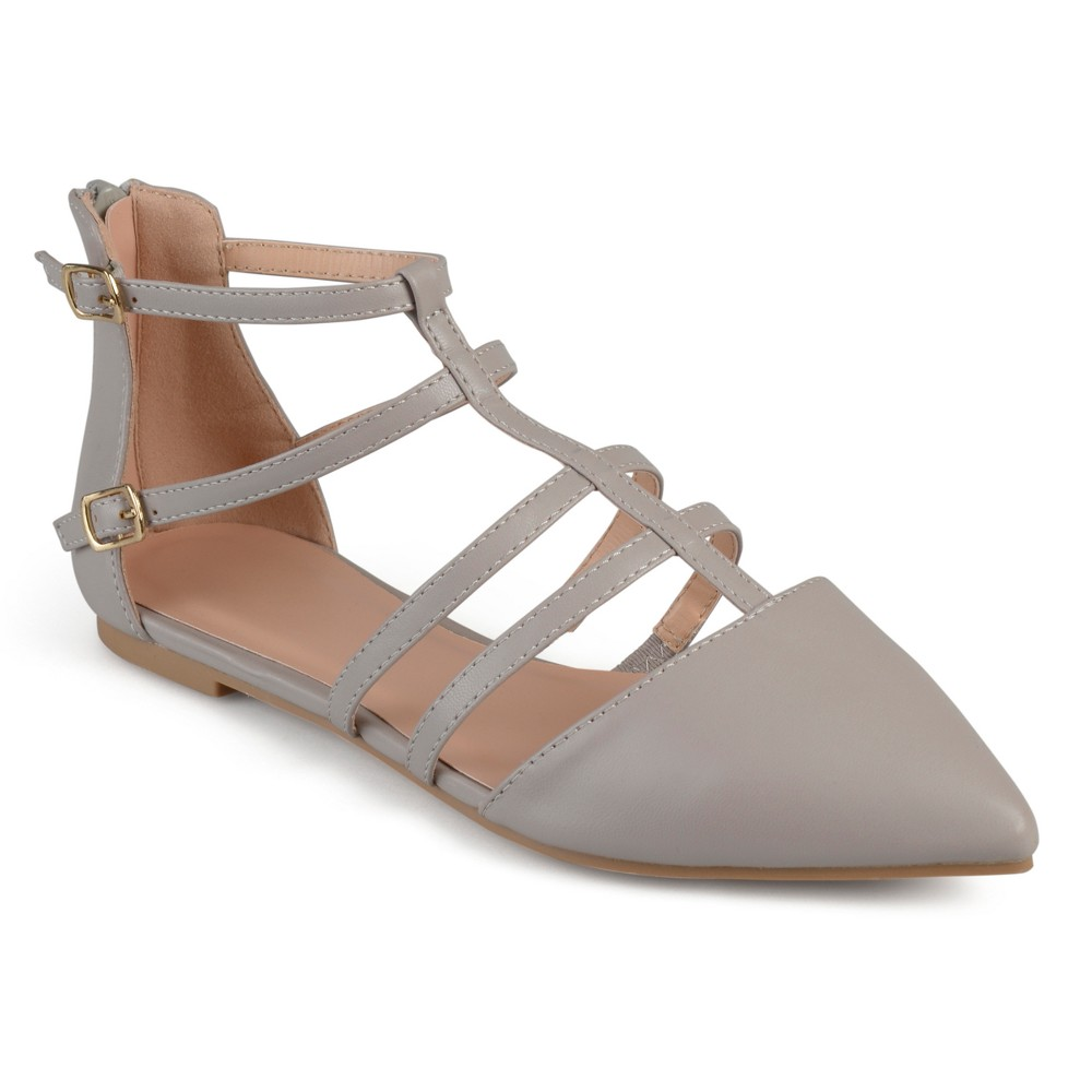 Womens Journee Collection Dorsy Strappy Pointed Toe Flats - Gray 8.5