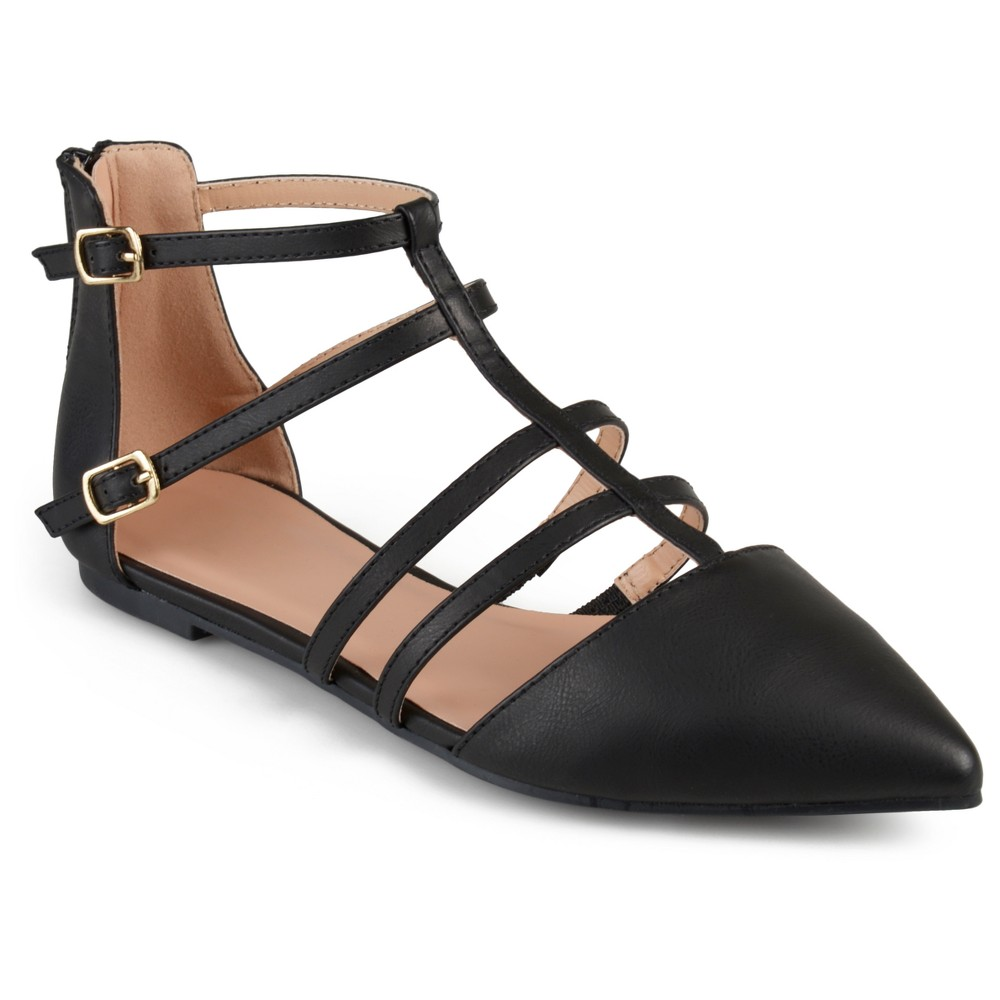 Womens Journee Collection Dorsy Strappy Pointed Toe Flats - Black 8