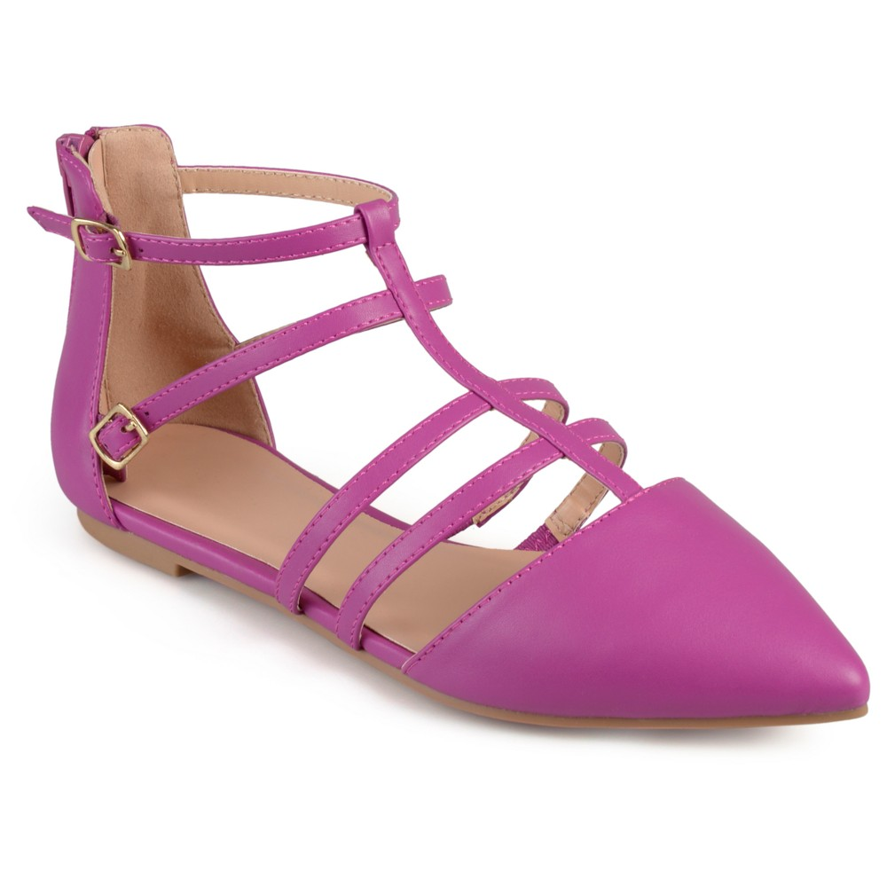 Womens Journee Collection Dorsy Strappy Pointed Toe Flats - Pink 10