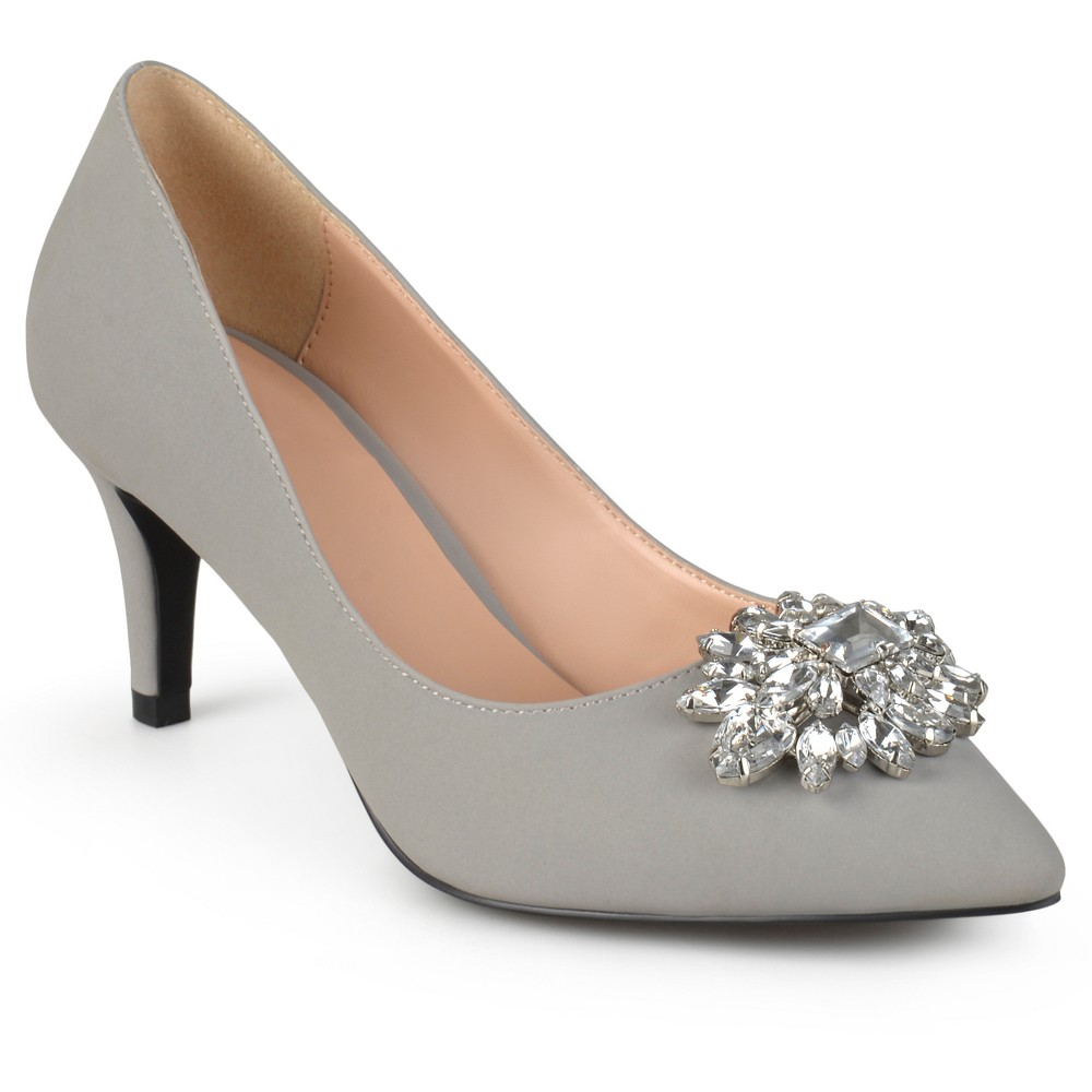 Womens Journee Collection Kitt Pointed Toe Jewel Cluster Pumps - Gray 7.5