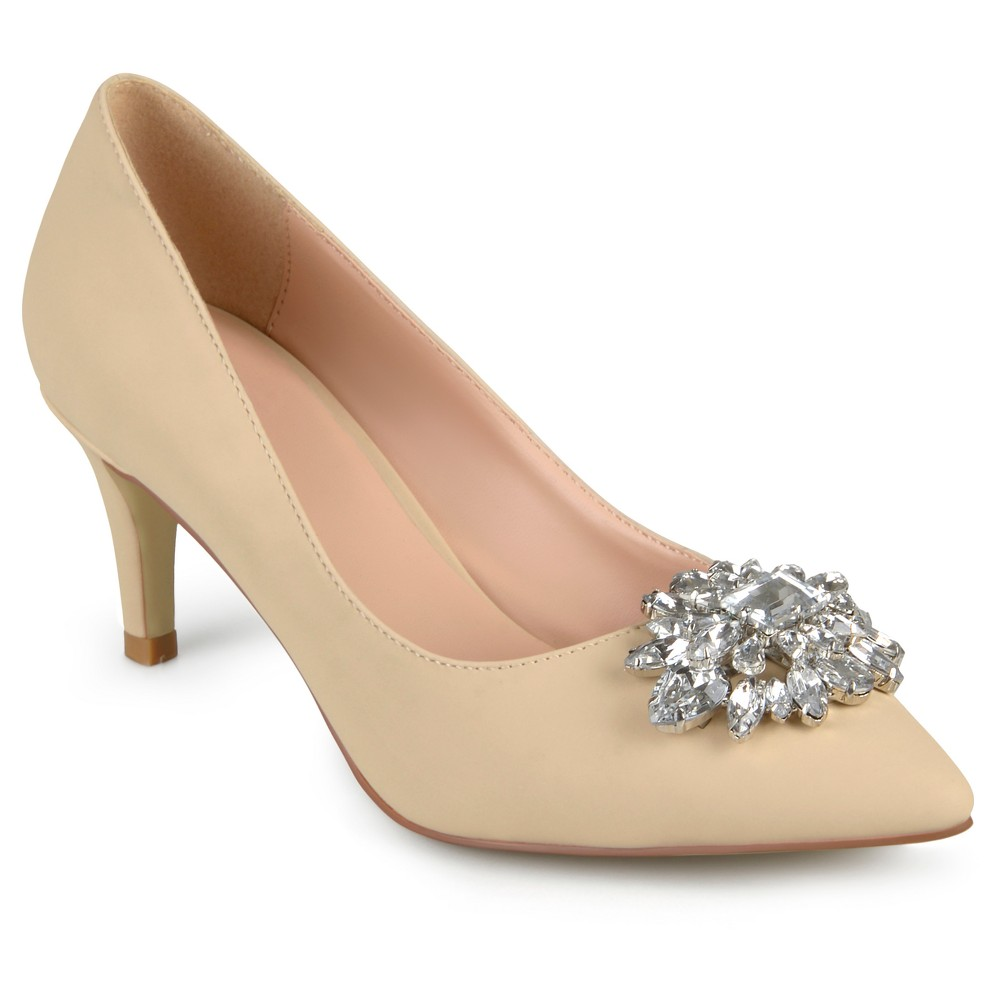 Womens Journee Collection Kitt Pointed Toe Jewel Cluster Pumps - Nude 7.5