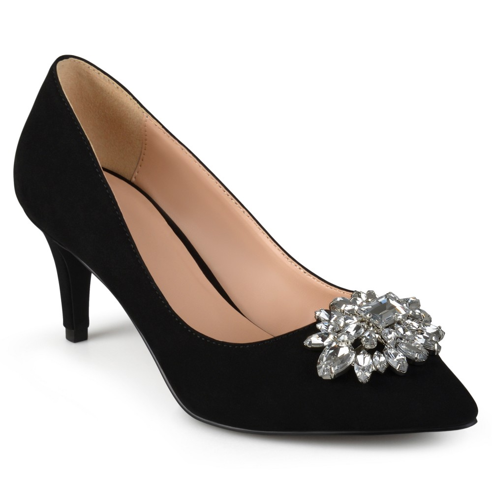 Womens Journee Collection Kitt Pointed Toe Jewel Cluster Pumps - Black 7