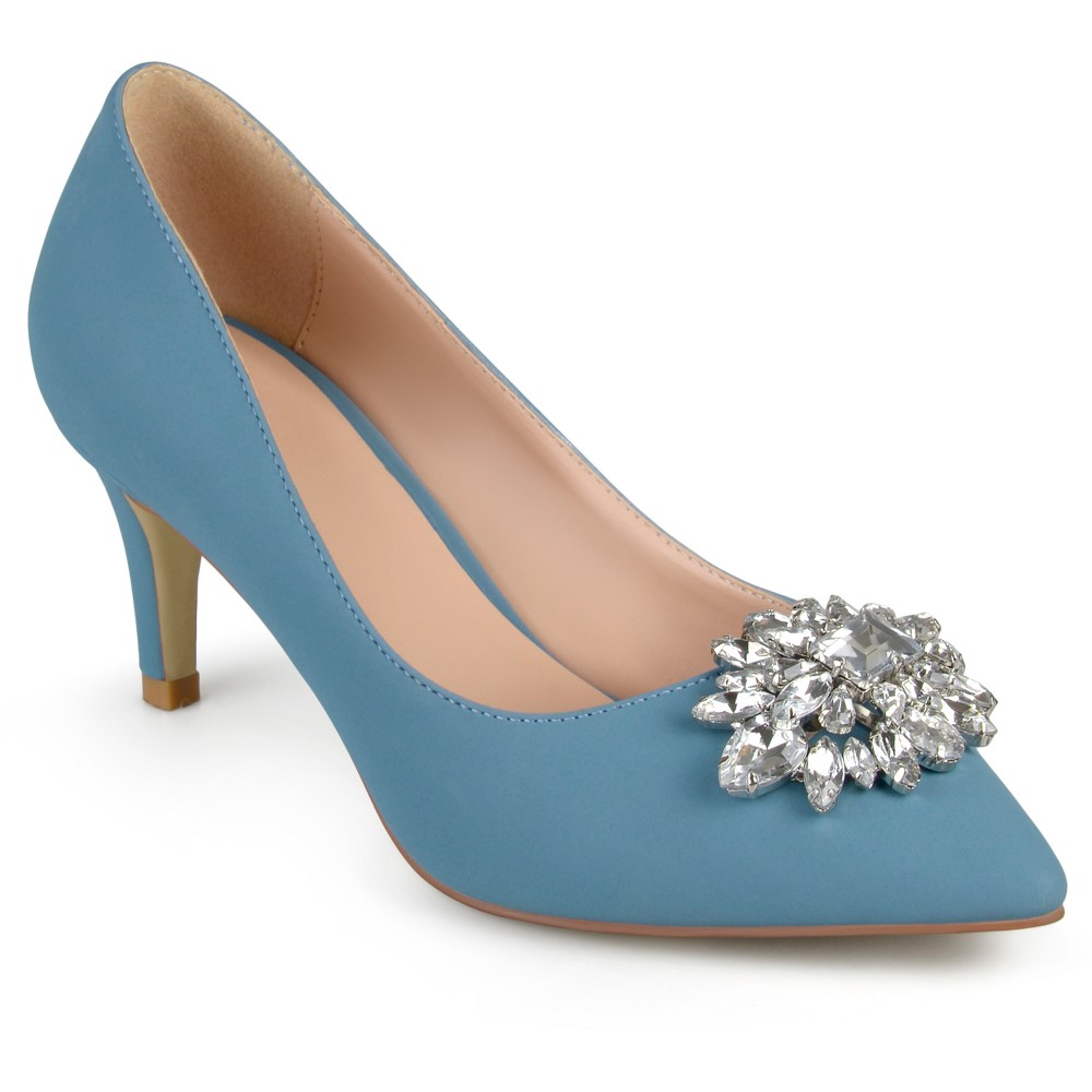 Womens Journee Collection Kitt Pointed Toe Jewel Cluster Pumps - Blue 8.5