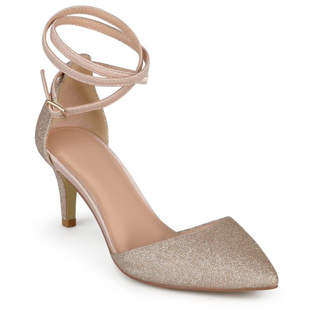 Womens Journee Collection dOrsay Luela Glitter Pumps - Rose Gold 12