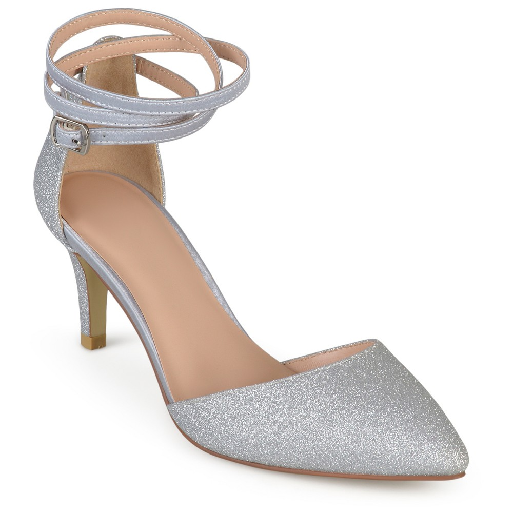 Womens Journee Collection dOrsay Luela Glitter Pumps - Silver 6