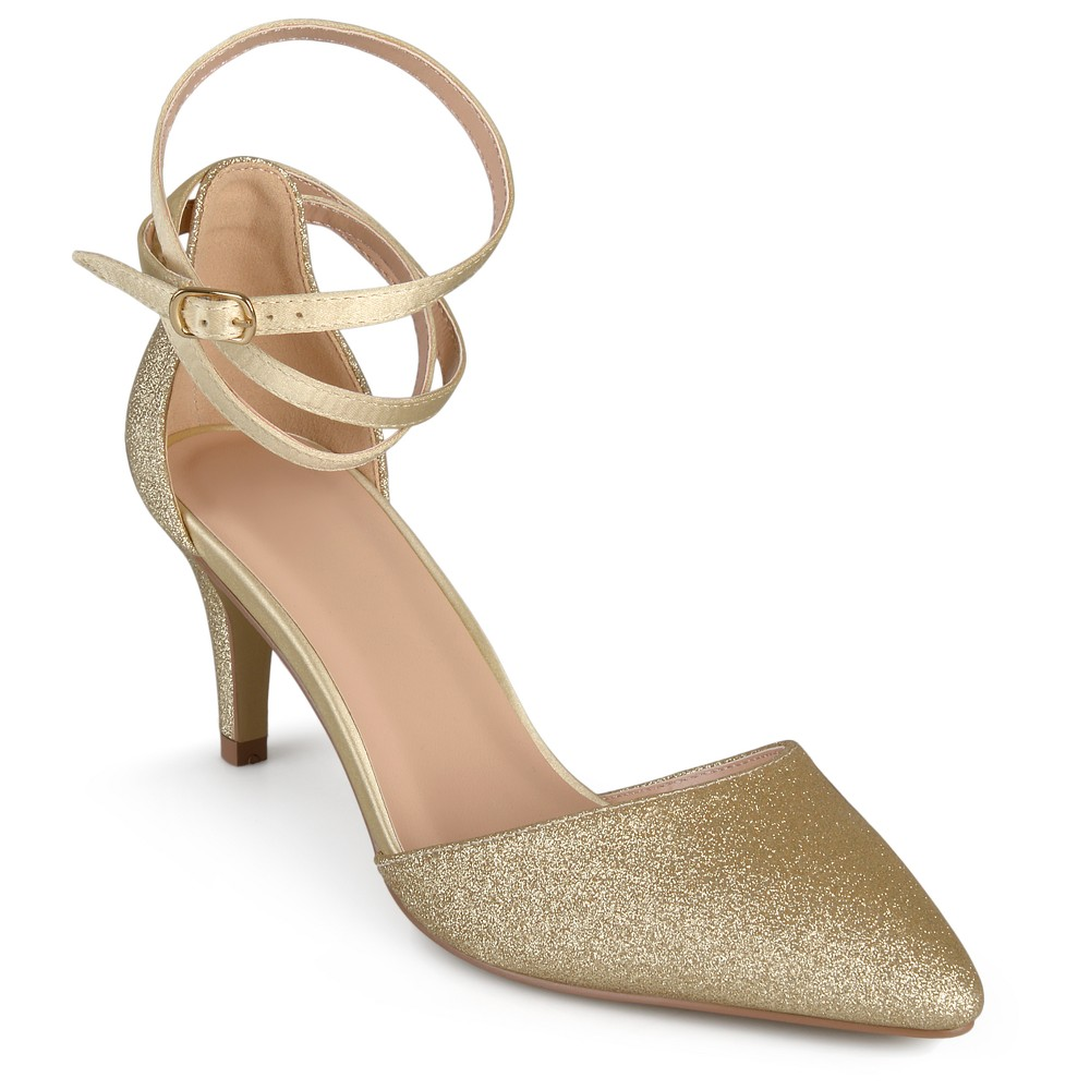 Womens Journee Collection dOrsay Luela Glitter Pumps - Gold Gold 11