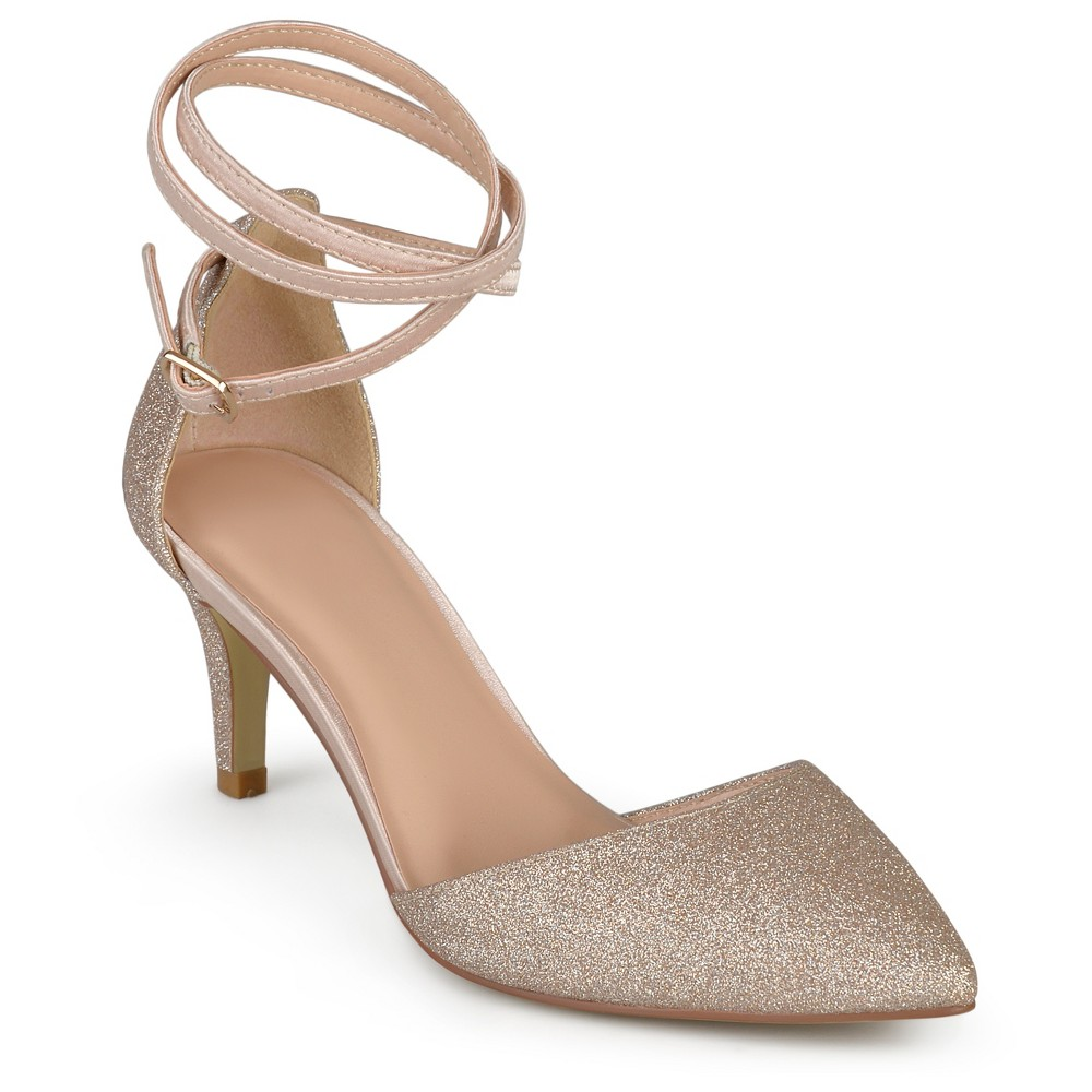Womens Journee Collection dOrsay Luela Glitter Pumps - Rose Gold 6