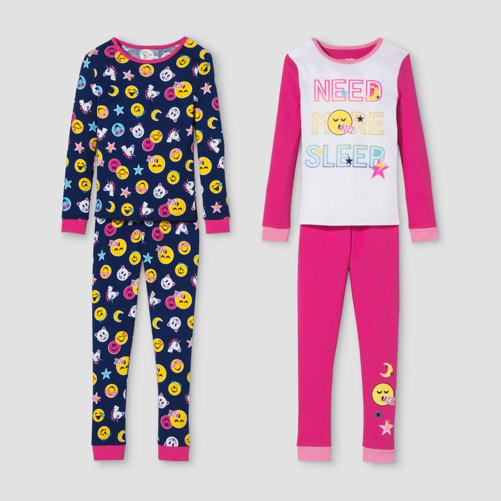 Girls EmojiNation 4pc Pajama Set - Pink 6, Multicolored