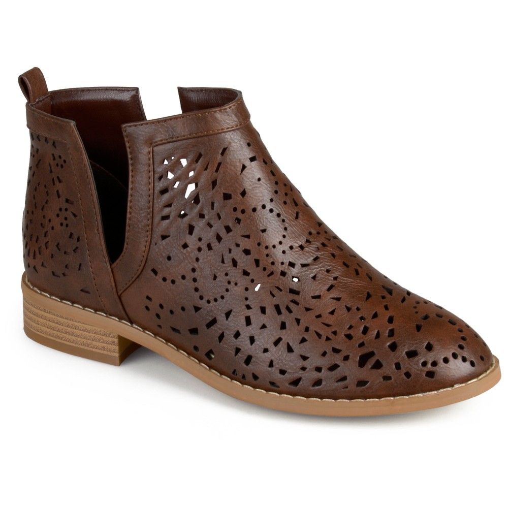Womens Journee Collection Payton Laser Cut Stacked Heel Booties - Brown 6.5