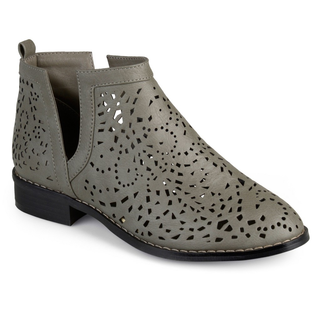 Womens Journee Collection Payton Laser Cut Stacked Heel Booties - Gray 6