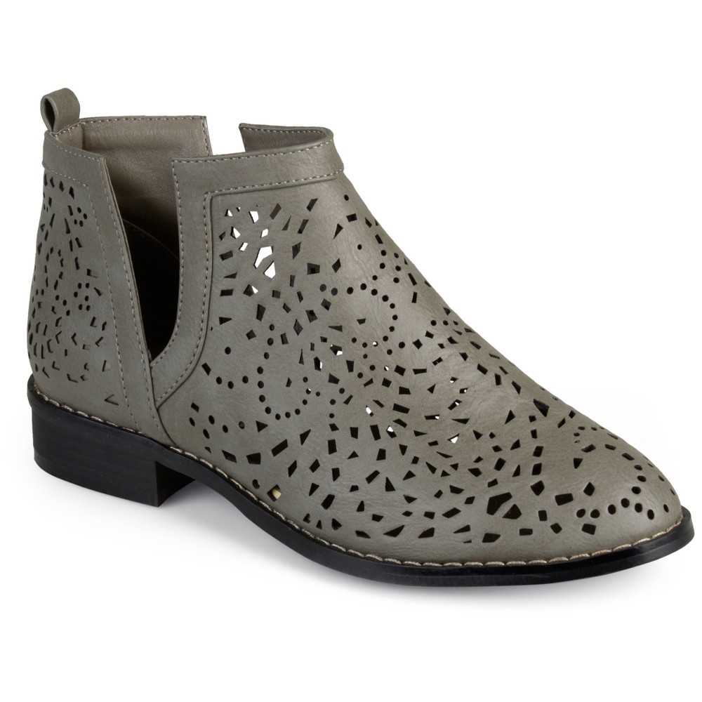 Womens Journee Collection Payton Laser Cut Stacked Heel Booties - Gray 8