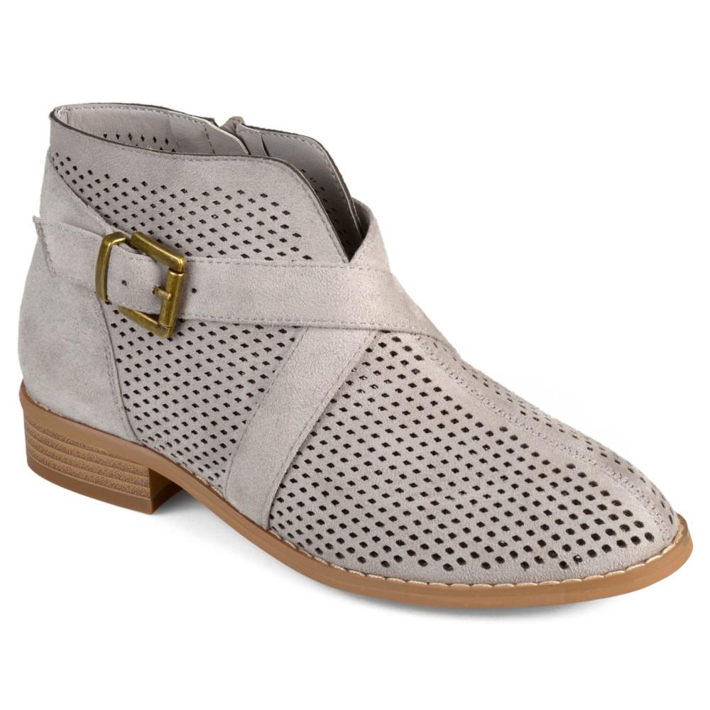 Womens Journee Collection Reggi Stacked Heel Laser Cut Buckle Booties - Gray 8.5