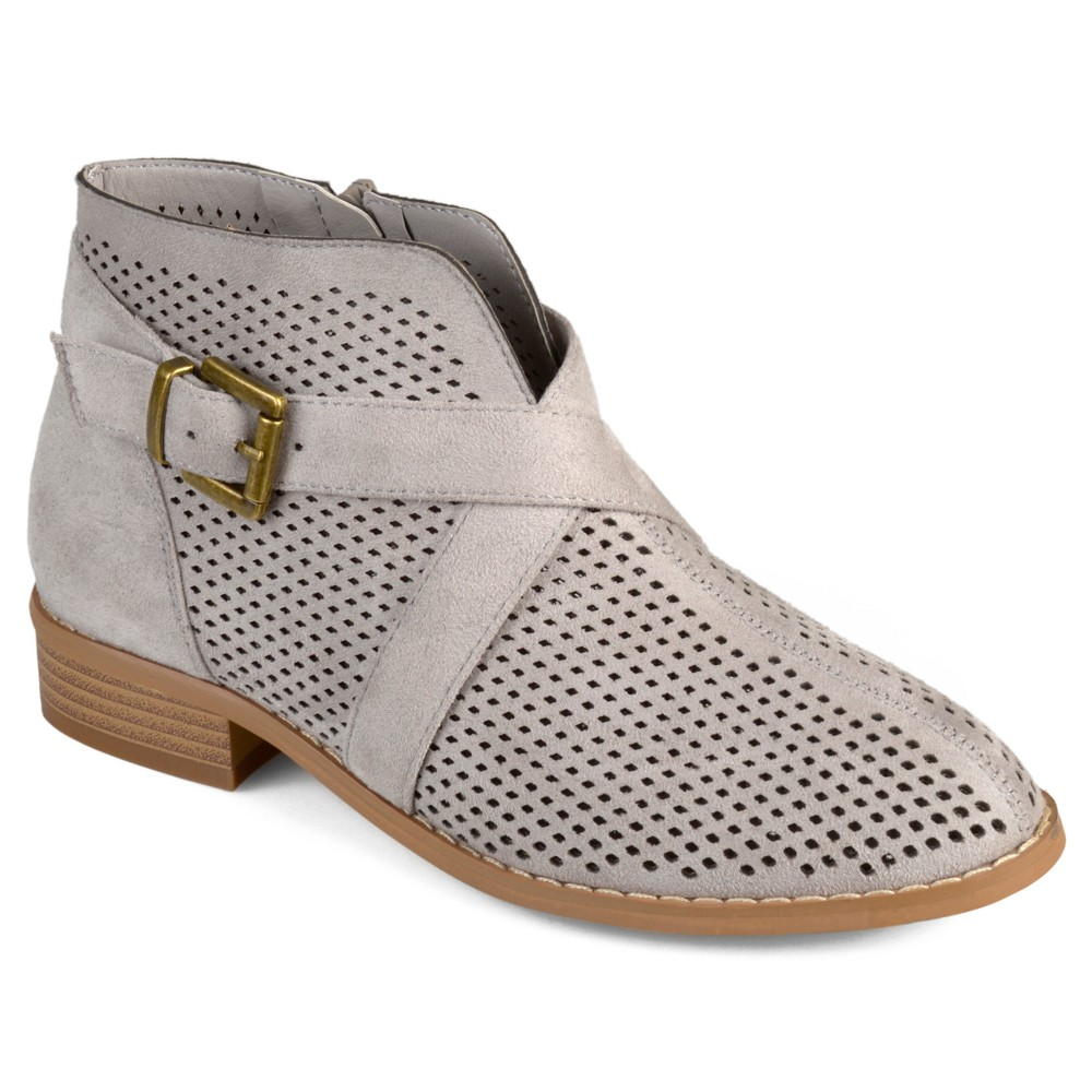 Womens Journee Collection Reggi Stacked Heel Laser Cut Buckle Booties - Gray 6.5