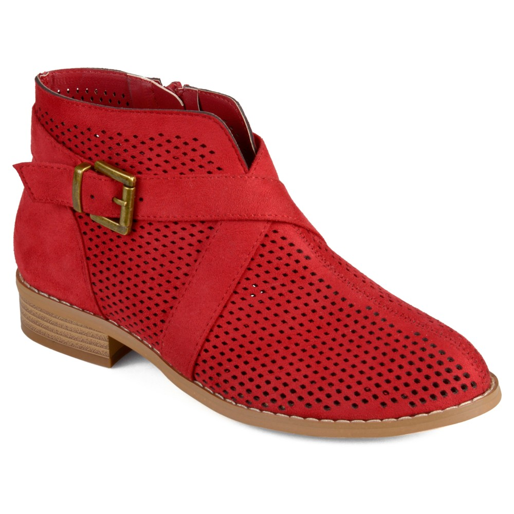 Womens Journee Collection Reggi Stacked Heel Laser Cut Buckle Booties - Red 7