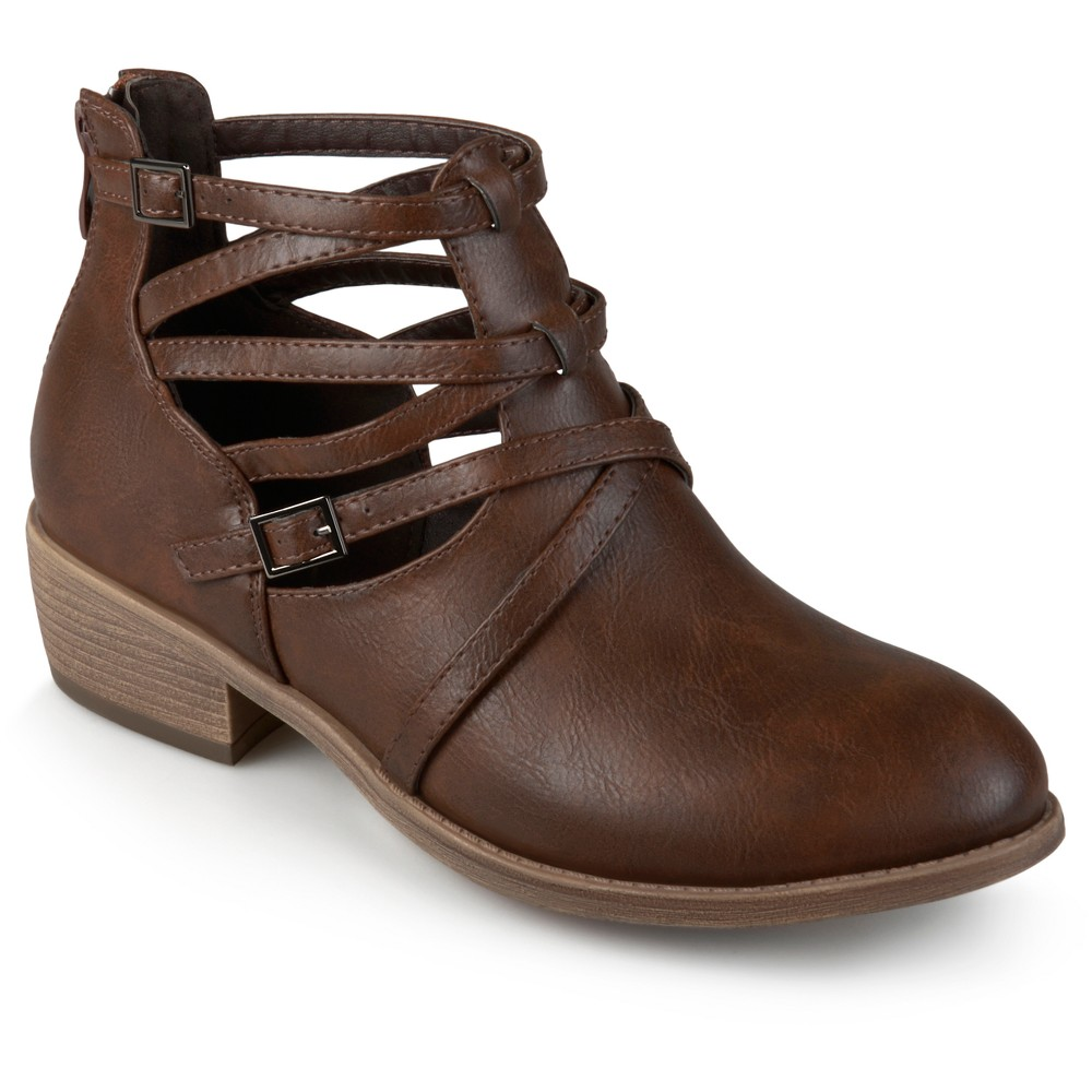 Women's Journee Collection Savvy Strappy Faux Leather Booties - Brown 7.5