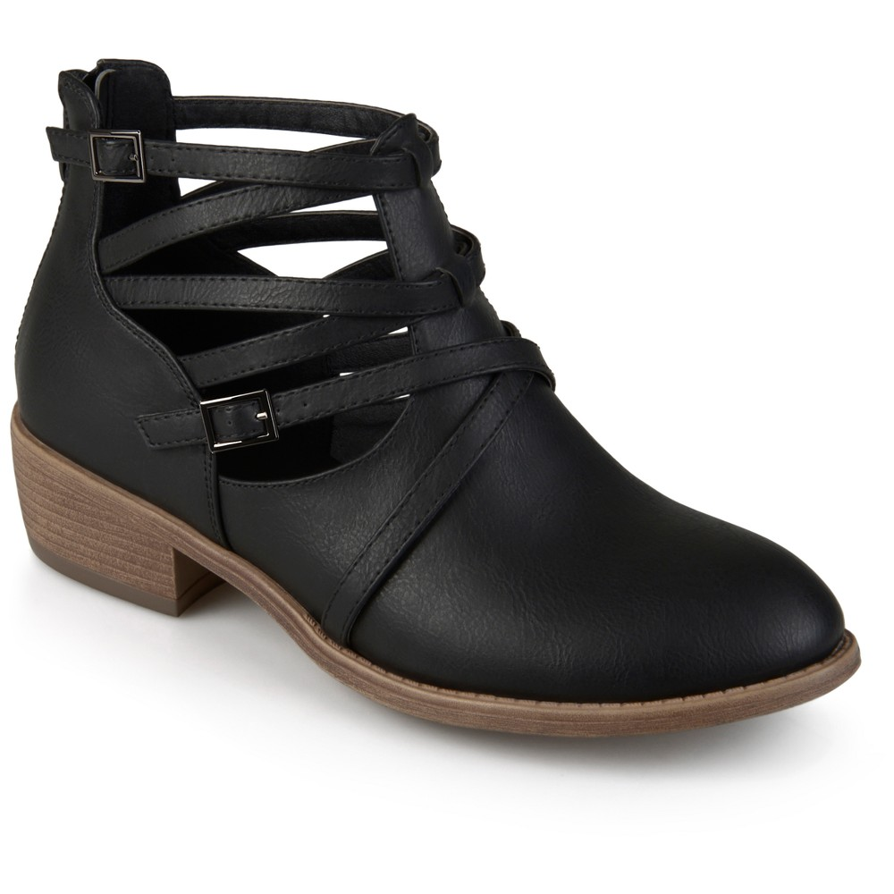 Womens Journee Collection Savvy Strappy Faux Leather Booties - Black 7