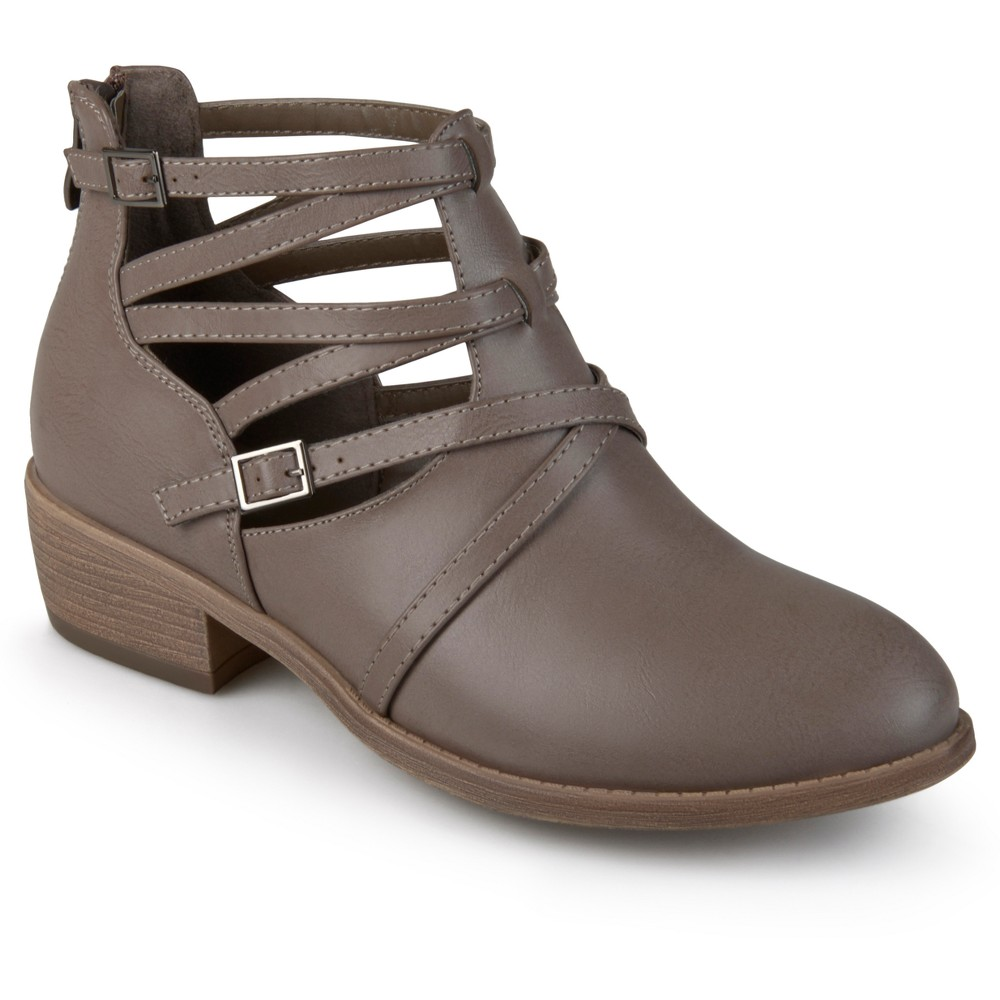 Womens Journee Collection Savvy Strappy Faux Leather Booties - Taupe (Brown) 10
