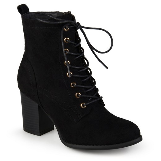 Women's Journee Collection Baylor Stacked Heel Lace Up Booties ...