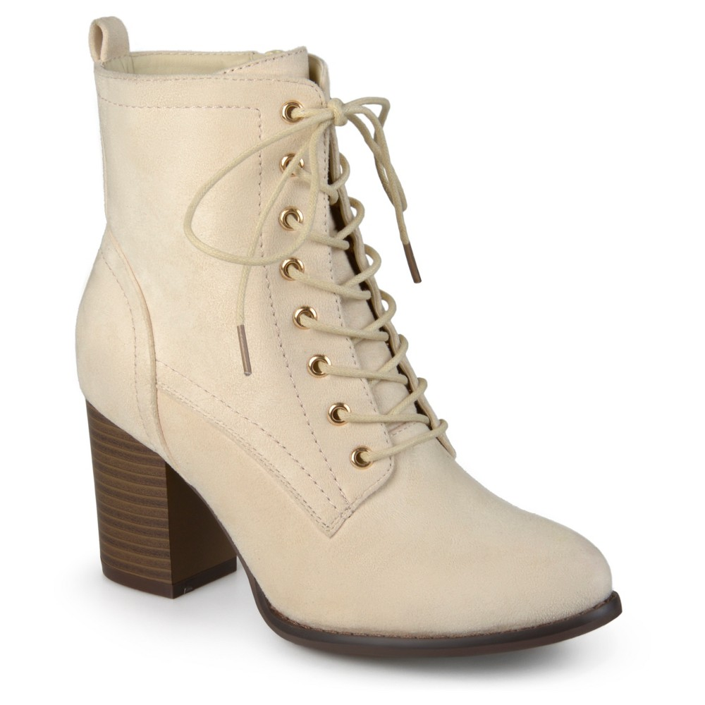 Womens Journee Collection Baylor Stacked Heel Lace Up Booties - Bone (Ivory) 6