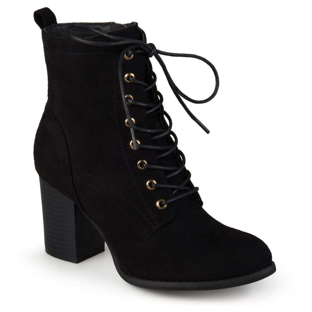 Womens Journee Collection Baylor Stacked Heel Lace Up Booties - Black 7.5