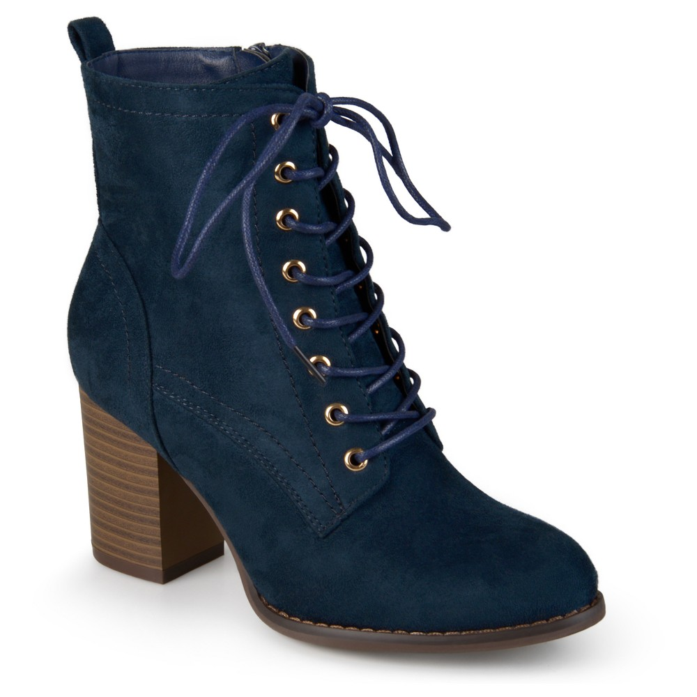 Womens Journee Collection Baylor Stacked Heel Lace Up Booties - Blue 7