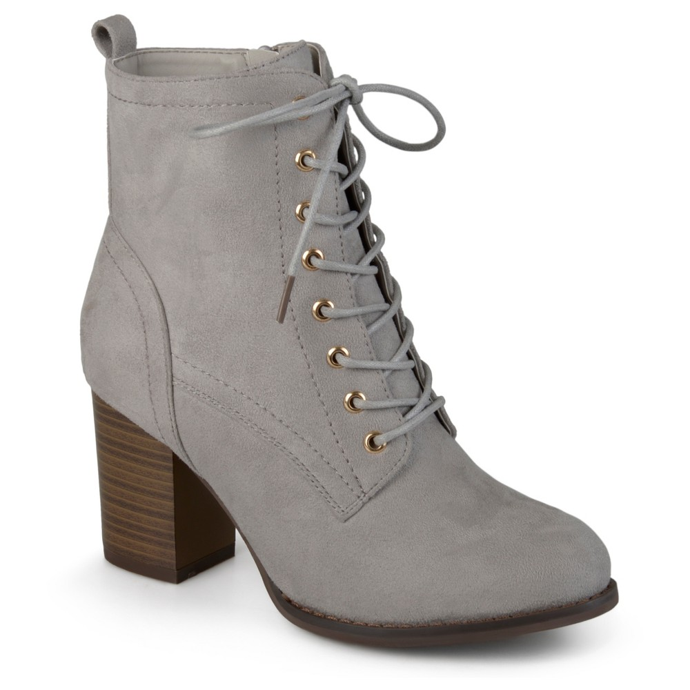 Womens Journee Collection Baylor Stacked Heel Lace Up Booties - Gray 6
