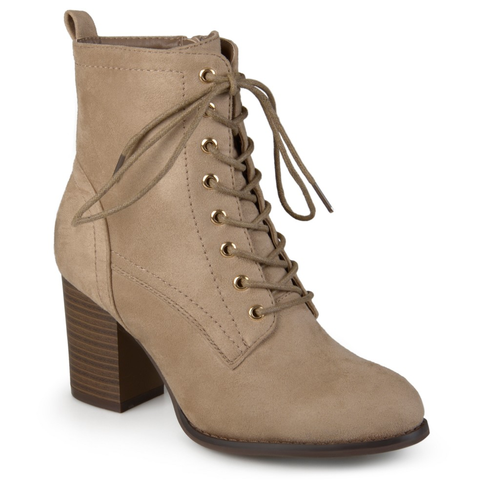 Womens Journee Collection Baylor Stacked Heel Lace Up Booties - Taupe (Brown) 8