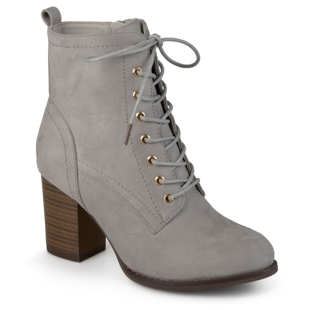 Womens Journee Collection Baylor Stacked Heel Lace Up Booties - Gray 8