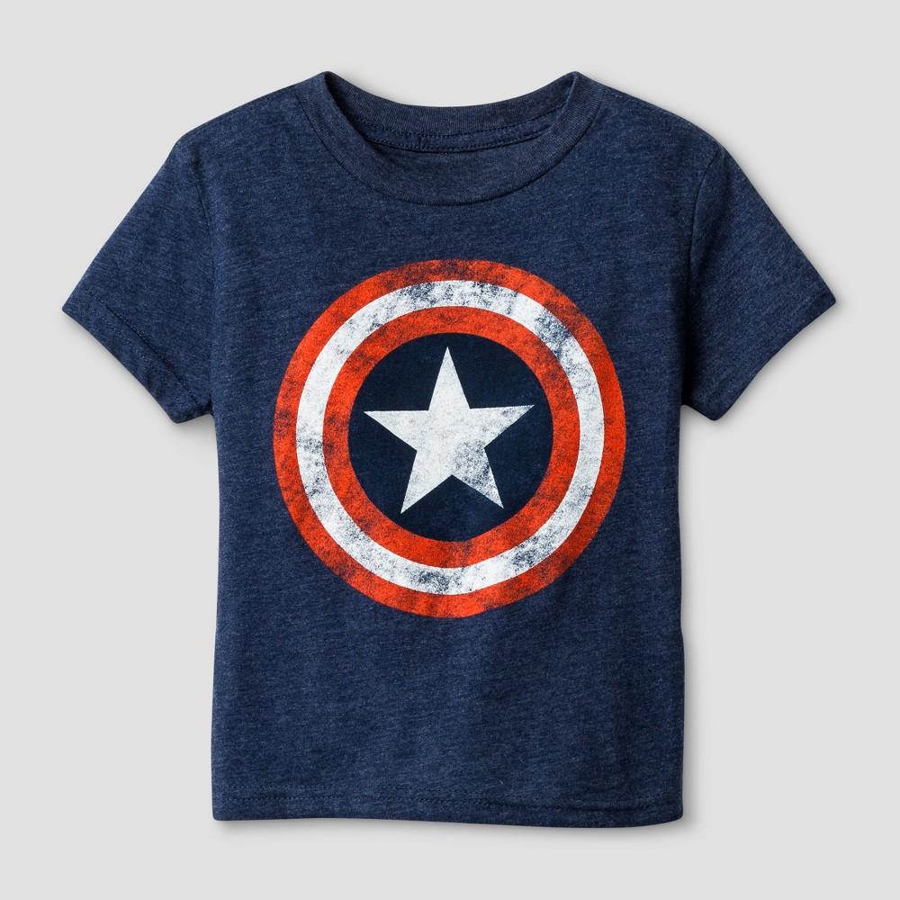 Toddler Boys' Captain America Stress Shield T-Shirt - Navy Heather 4T, Blue