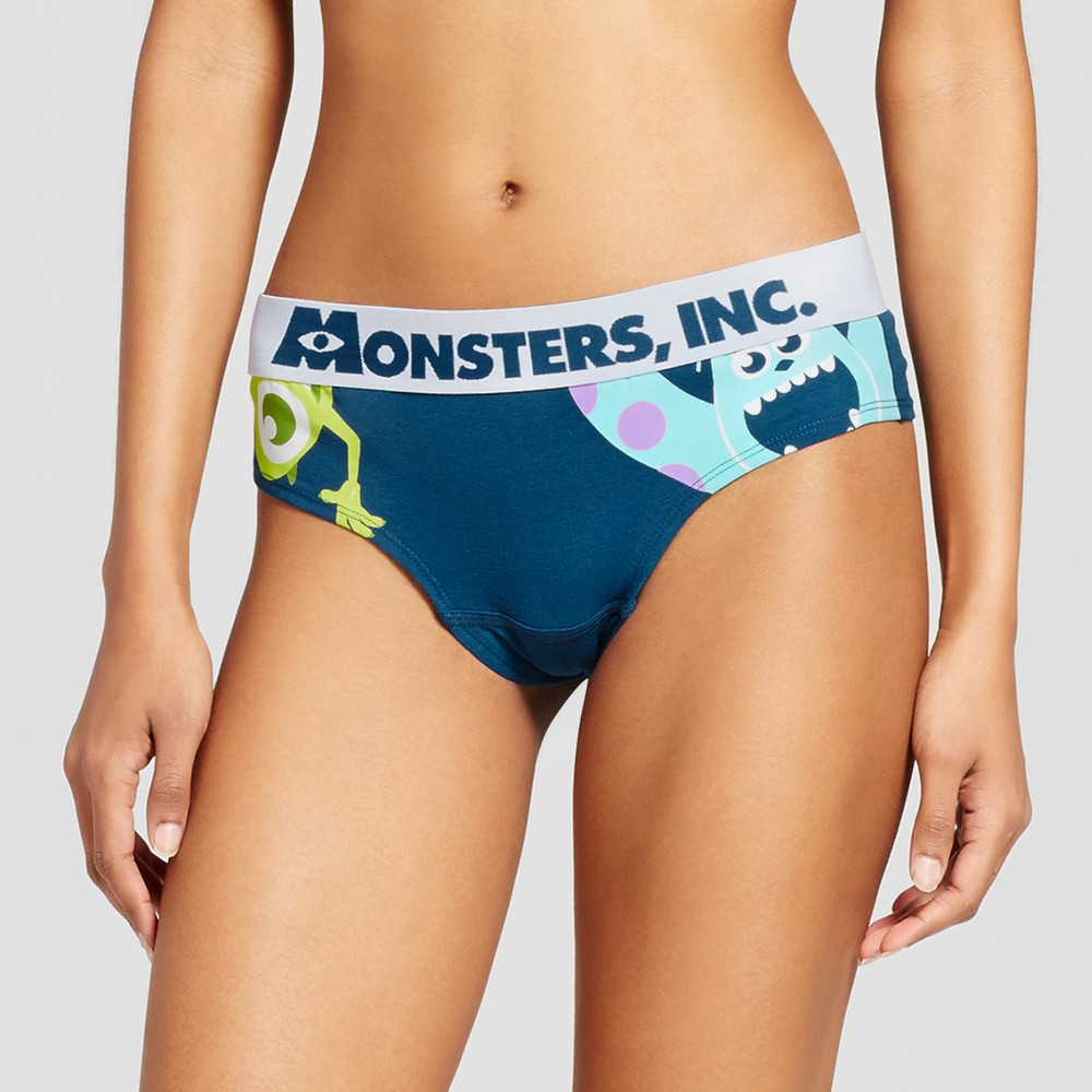 Monsters, Inc. Navy Womens Cheeky Bikini Brief - M, Blue