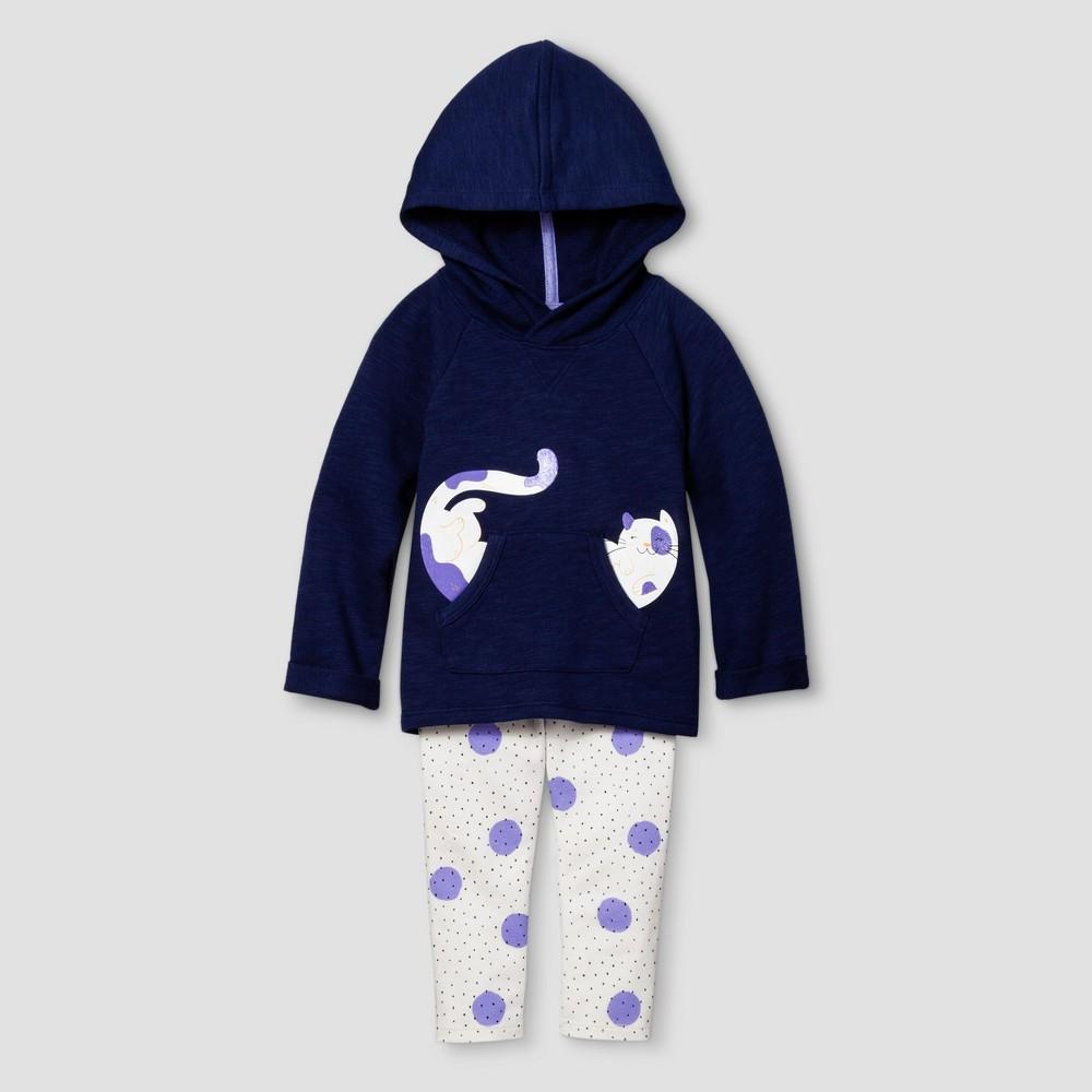 Toddler Girls Top And Bottom Set - Cat & Jack Nightfall Blue 18M, Size: 18 M