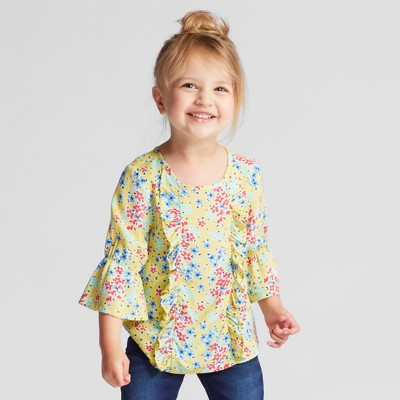 Toddler Girls' Ruffle Front Blouse - Genuine Kids™ from OshKosh® Province Yellow 12M