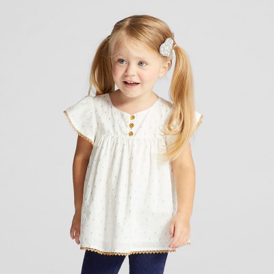 Toddler Girls' Metallic Clipspot With Trim - Genuine Kids™ from OshKosh® Almond Cream 18M