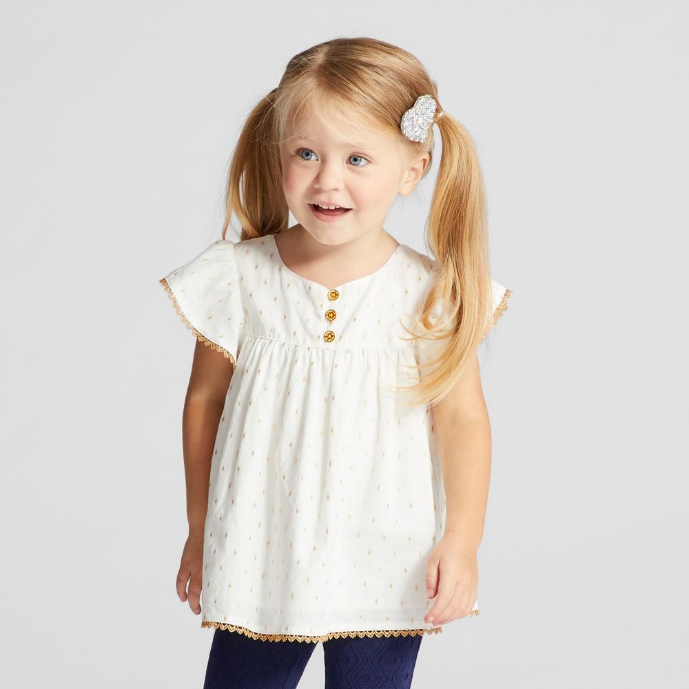 Toddler Girls Metallic Clipspot With Trim - Genuine Kids from OshKosh Almond Cream 2T, White