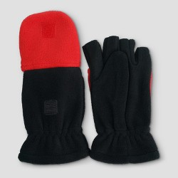 Boys' Fleece Convertible Gloves - Cat & Jack™ Black/Red
