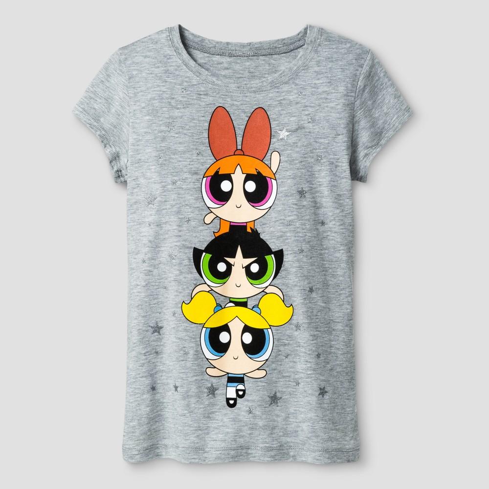 Girls Cartoon Network The Powerpuff Girls Short Sleeve T-Shirt - Heather Gray L(10-12)