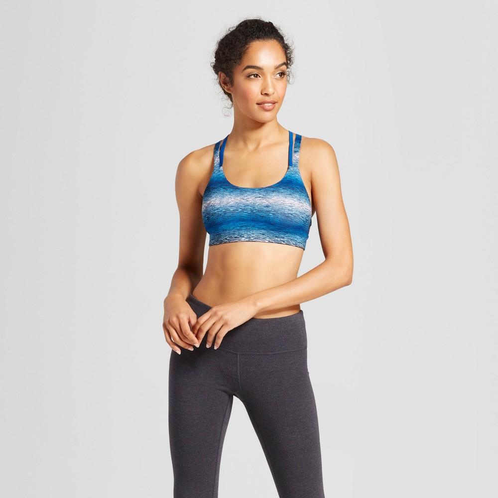Womens Power Core Compression Strappy Back Sports Bra - C9 Champion Blue Gradient Stripe XS